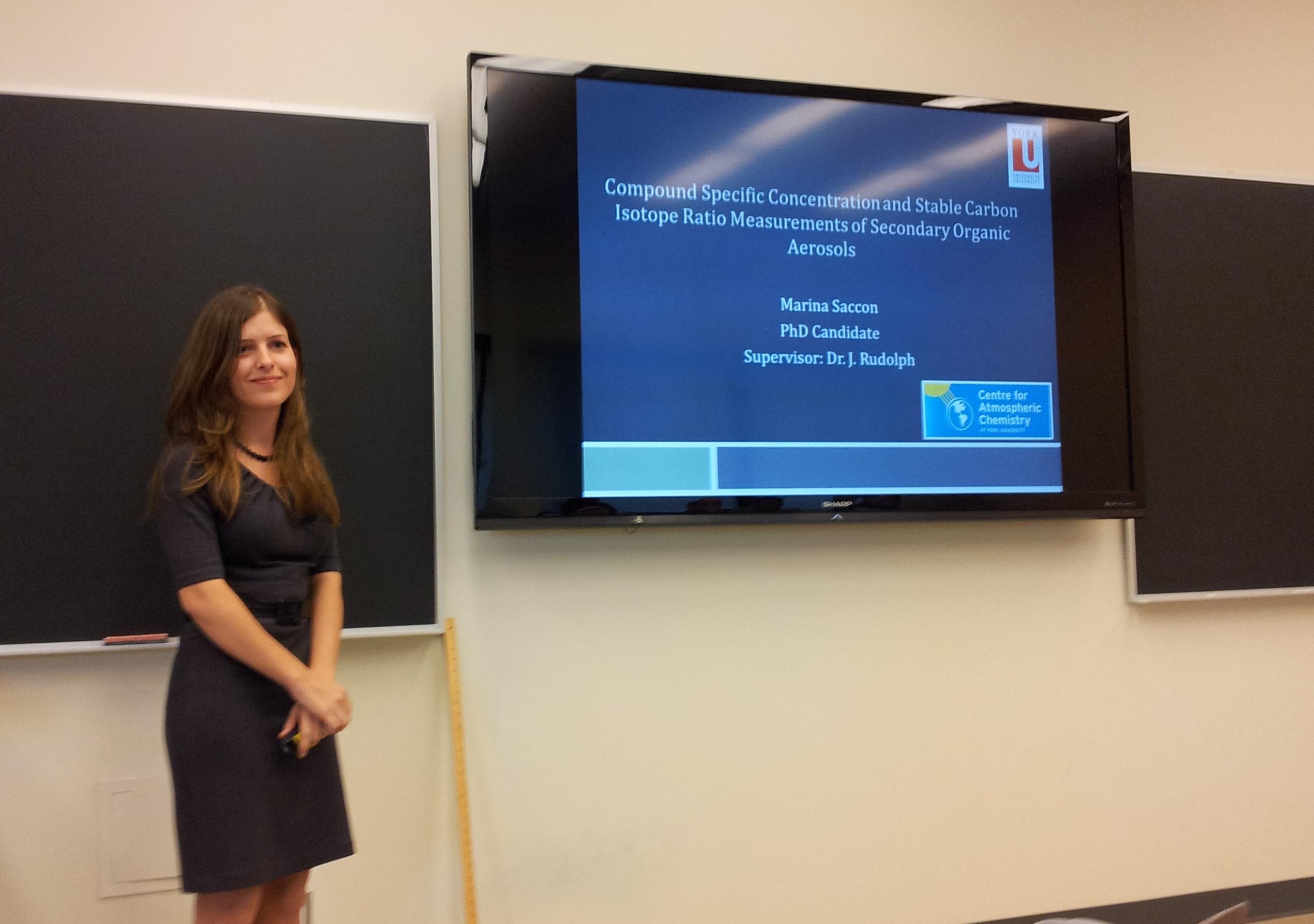 Marina Saccon presenting thesis